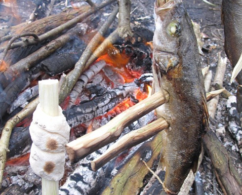 Cooking a Fish on a stick